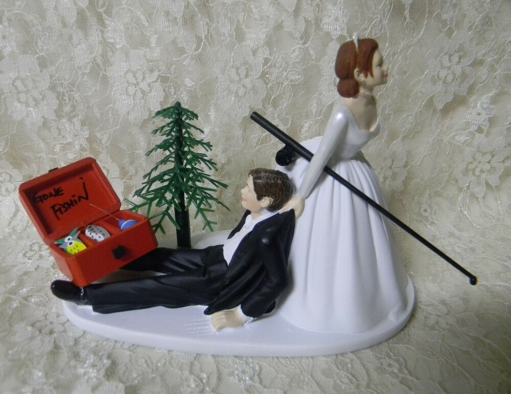 Wedding Party Fishing Cake Topper Red Hair On Bride Dark Hair Groom Tackle