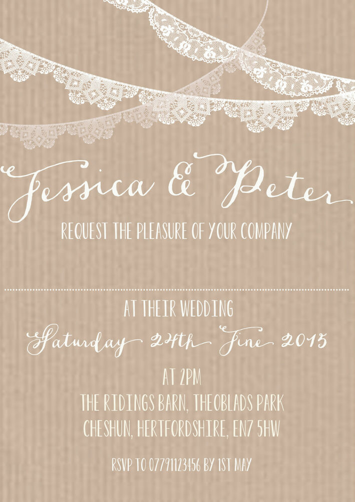 Personalised vintage lace bunting wedding invitations for Ebay navy wedding invitations