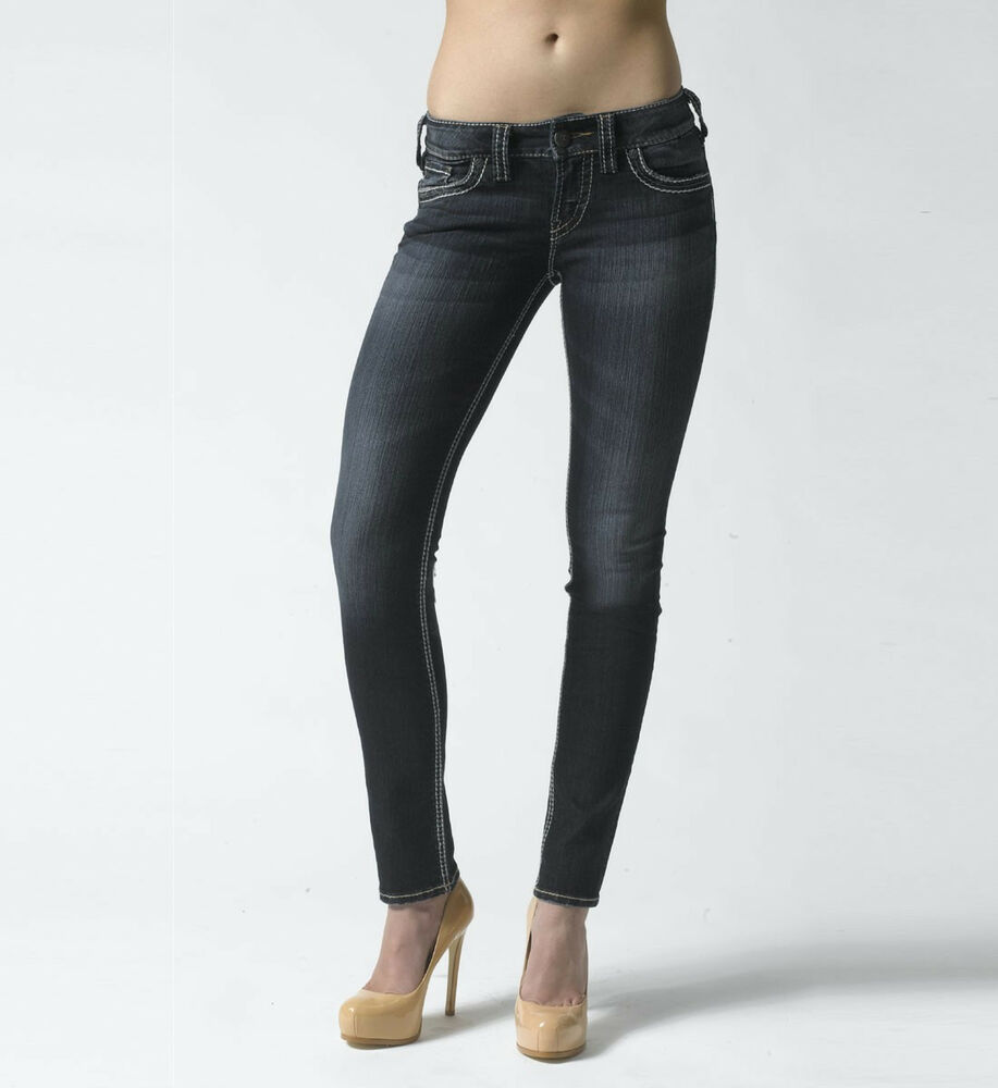 22ce1547 Details about PETITE WOMENS SILVER JEANS CO. SUKI FLAP SKINNY JEANS.  MEDIUM, MID-RISE