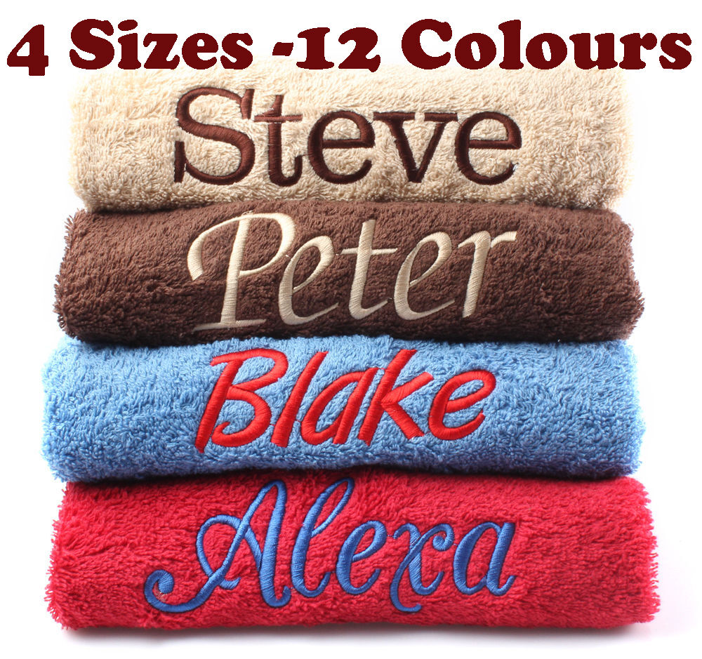 New EMBROIDERED PERSONALISED BATH TOWEL Ideal Gift Set ANY