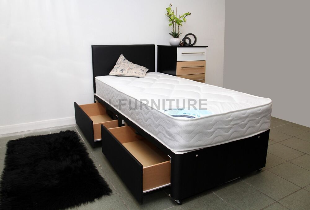 2ft6 3ft single divan bed any mattress storage headboard for Single divan beds with mattress and headboard
