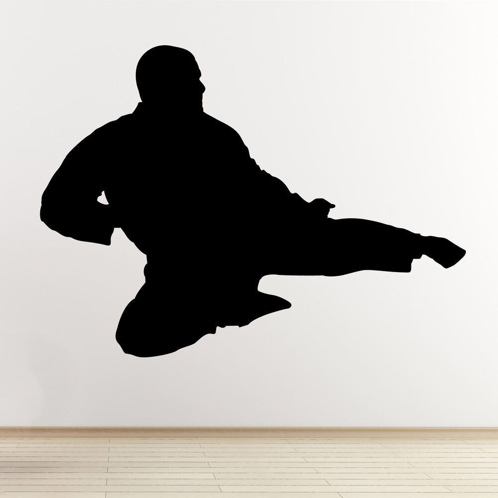 flying kick wall sticker taekwondo karate mixed chalkboard wall sticker kitchen decals tea cup ebay
