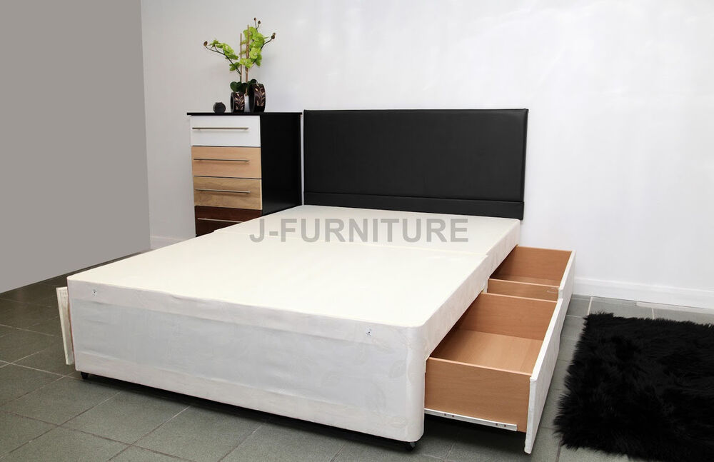 Double divan bed base in cream colour storage headboard for Divan bed base sale