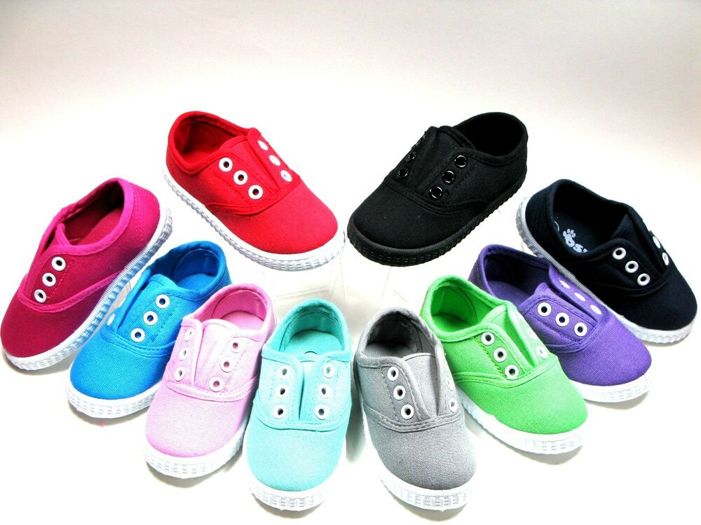 Slip For Baby Toddler Girls Boys Canvas Shoes Sizes 4