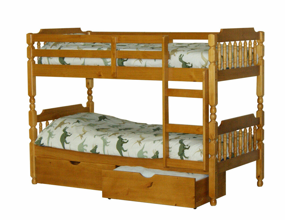 Wooden pine 3ft childrens kids bunk bed underbed drawers mattress option ebay - Kids bed with drawers underneath ...