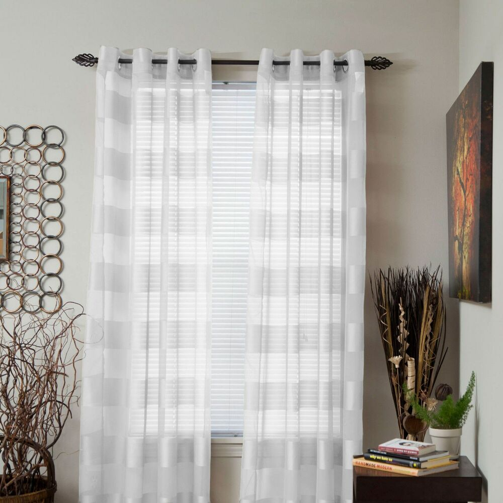 Lavish Home Sofia Sheer Striped Single Panel Curtain 95