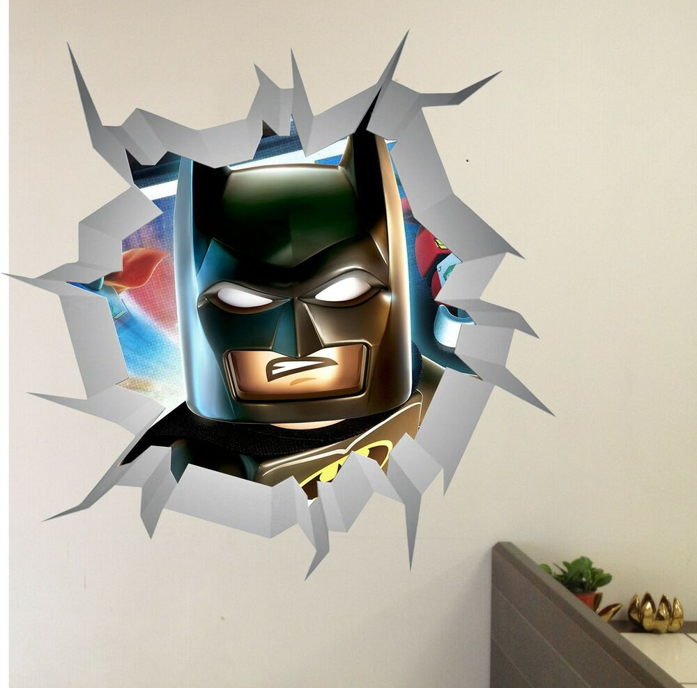 lego avengers batman wall crack wall art vinyl decor printed decal sticker mural ebay. Black Bedroom Furniture Sets. Home Design Ideas