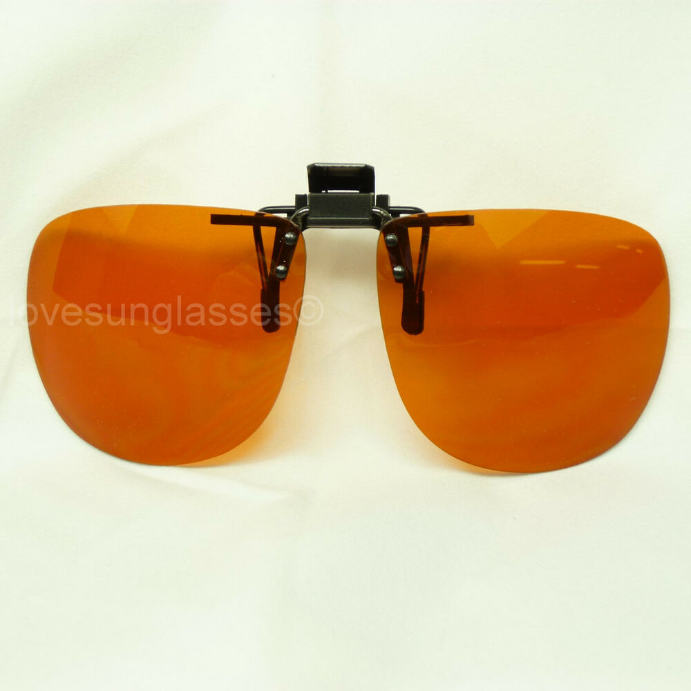 HD SUN GLASSES CLIP ON FLIP UP DRIVE VISION BLUE RAY ...