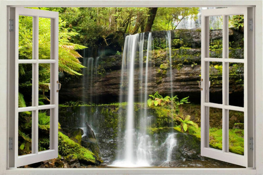 waterfall 3d window view removable decal home decor mural