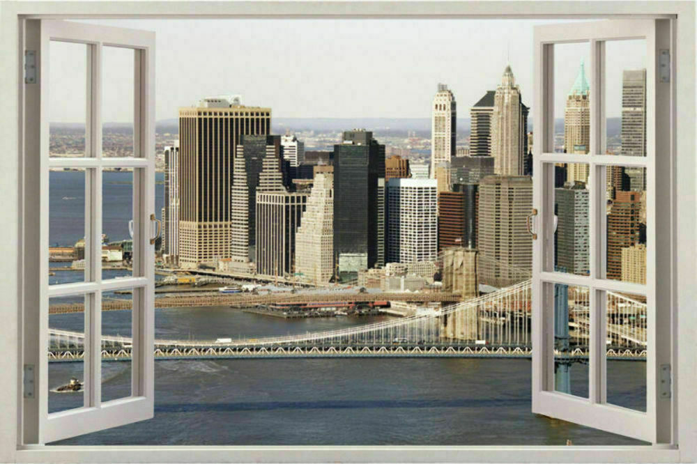 New York City Skyline Window View Wall Stickers Huge 3D Art Decal .