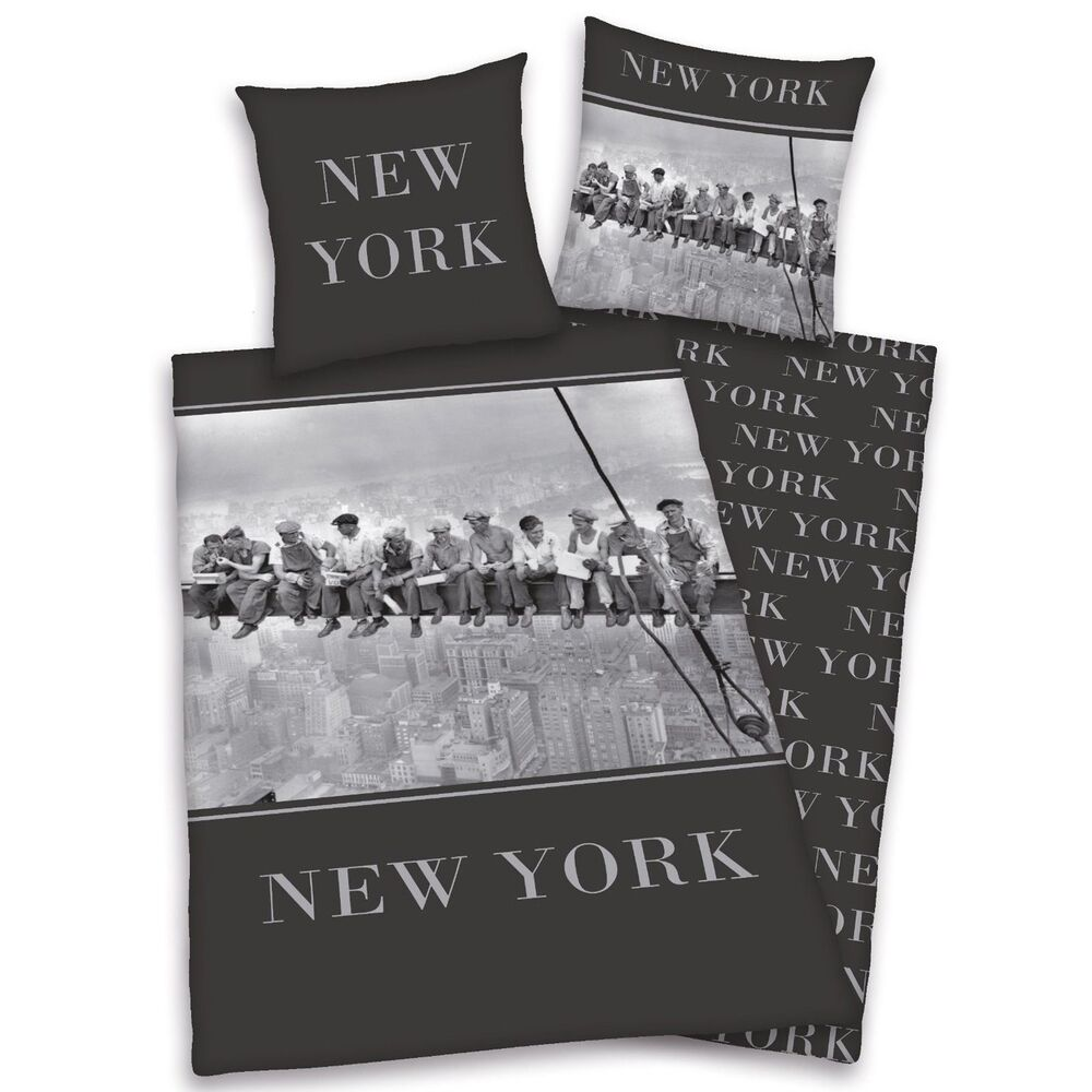 New york workmen single duvet cover set steelworkers city - Drap housse king size ...