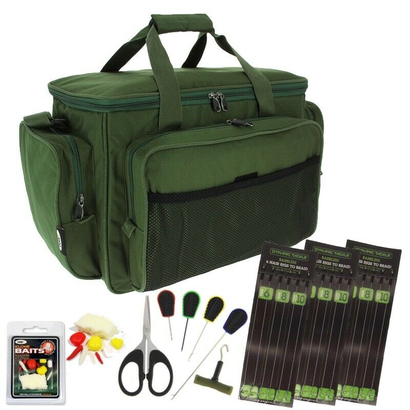 Carryall holdall carp fishing tackle bag hair rigs klone for Rigged fishing backpack