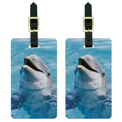 Dolphin in the Ocean Luggage Suitcase Carry-On ID Tags Set of 2