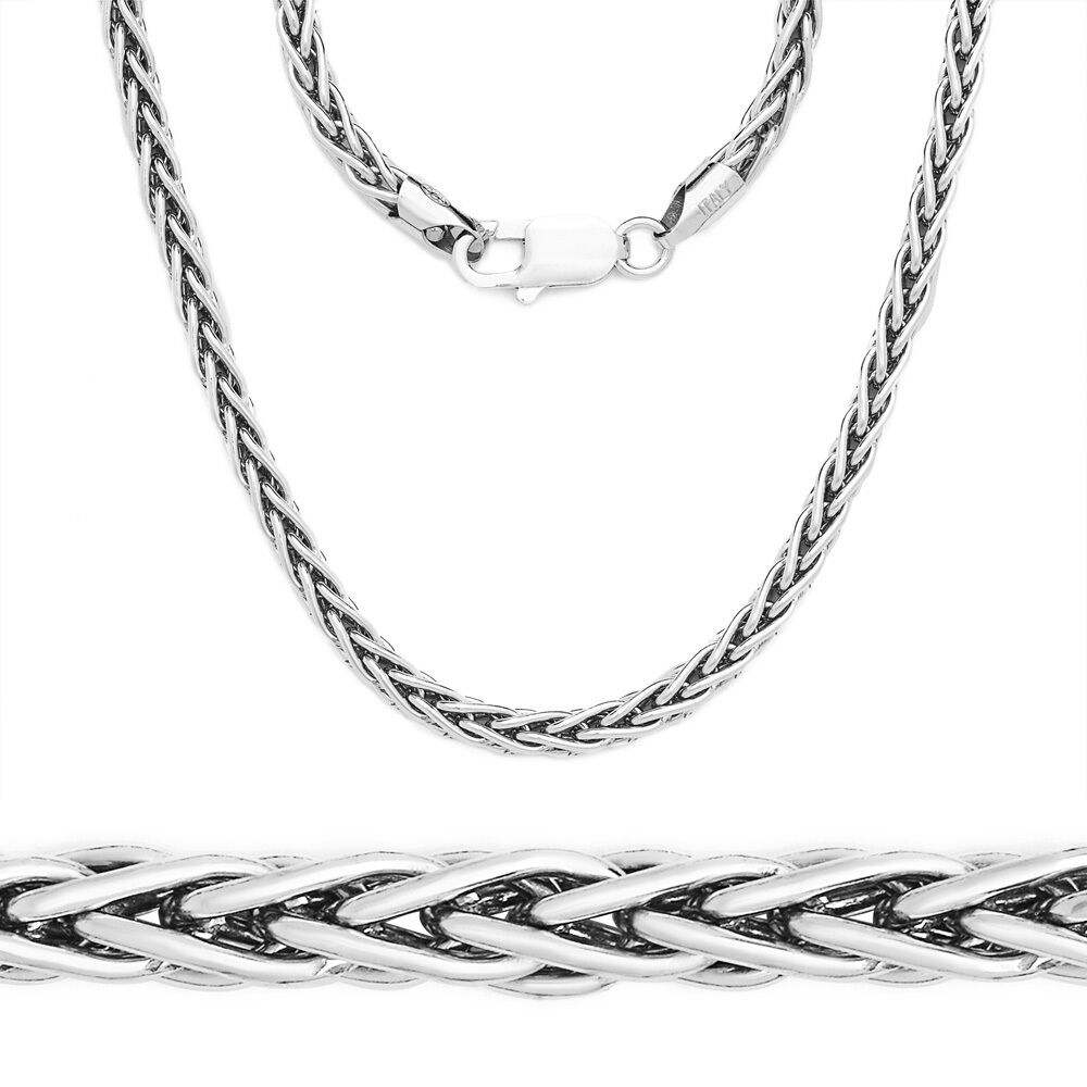 925 italy sterling silver wheat spiga rope link. Black Bedroom Furniture Sets. Home Design Ideas