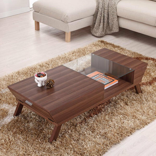 Oval Rotating Coffee Table: Browson Contemporary Glass Insert Coffee Table