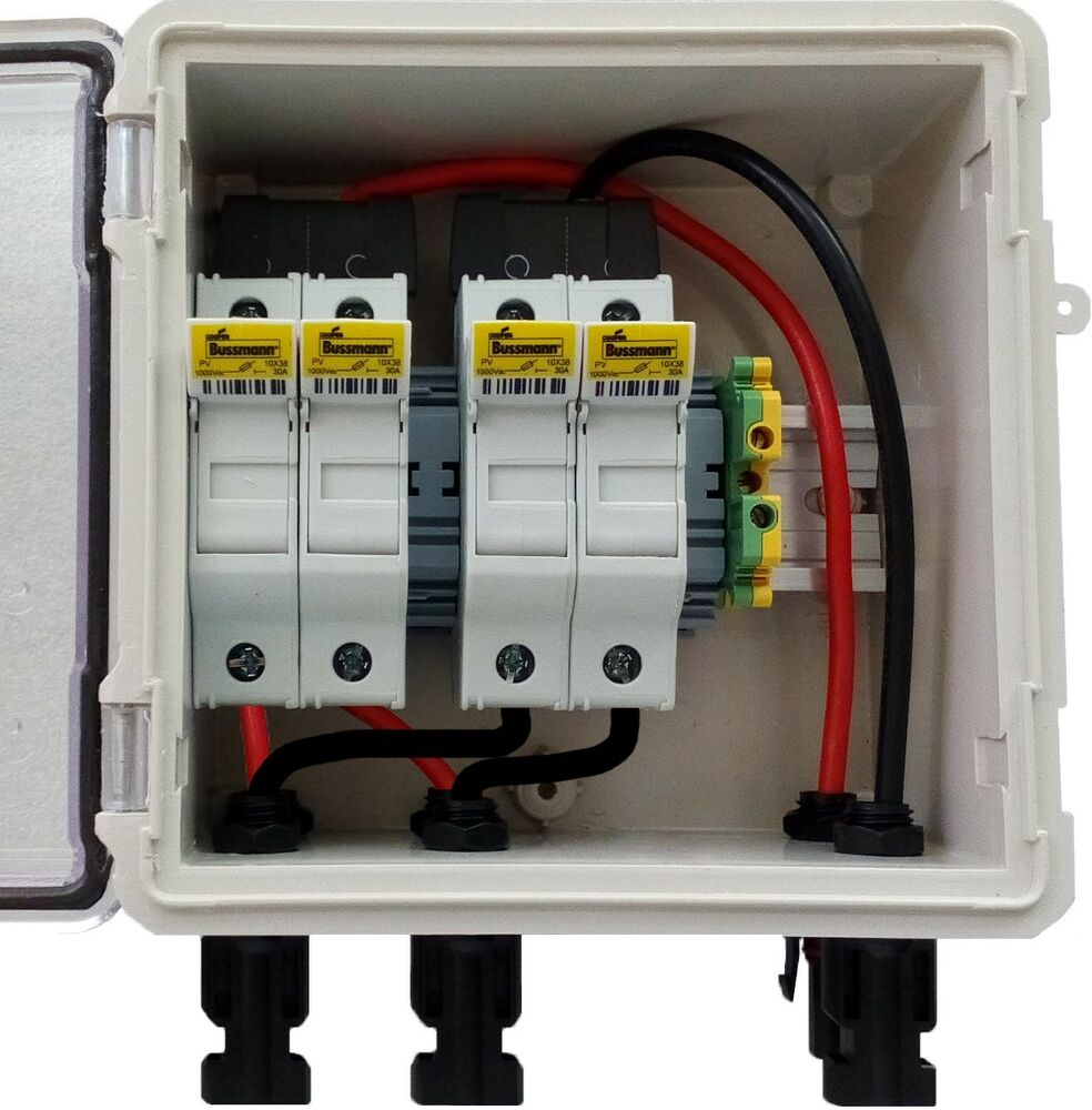 pv solar 2 string dc combiner box pre wired with 4 fuses ebay