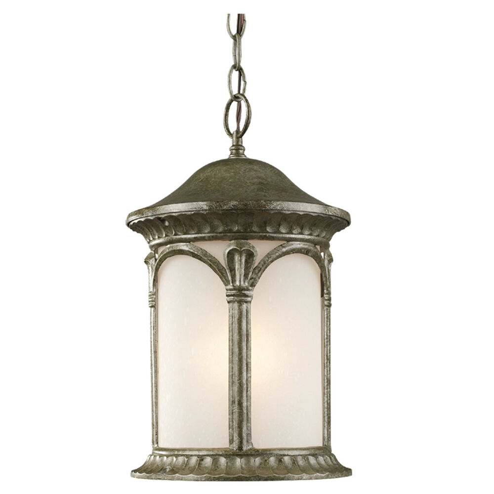 Antique silver and white seedy glass exterior hanging for Hanging outdoor light fixtures