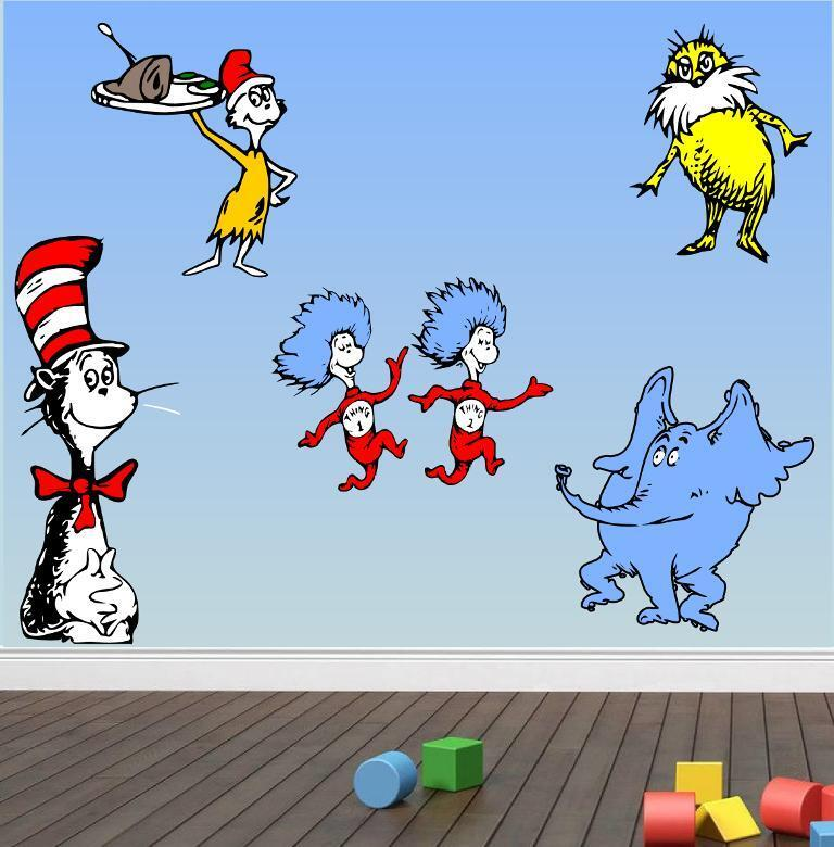 Cat In The Hat Characters: Wall Dr SEUSS CHARACTERS Kids Room Cartoon Decal Cat In