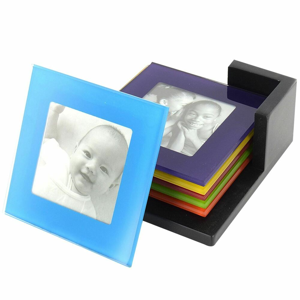 set of 6 coloured glass photo coasters picture frame. Black Bedroom Furniture Sets. Home Design Ideas