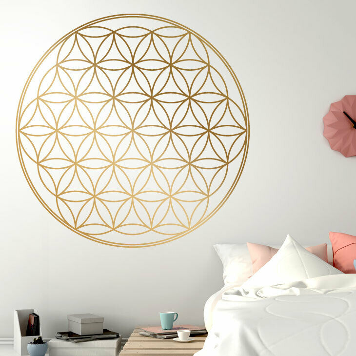 wandtattoo wandsticker wandaufkleber flur blume des lebens energie symbol w1134 ebay. Black Bedroom Furniture Sets. Home Design Ideas