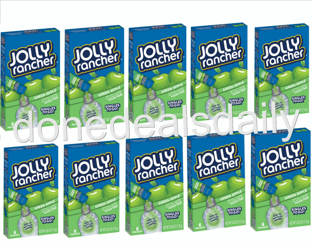 10 boxes jolly rancher green apple singles to go drink for Single ranchers