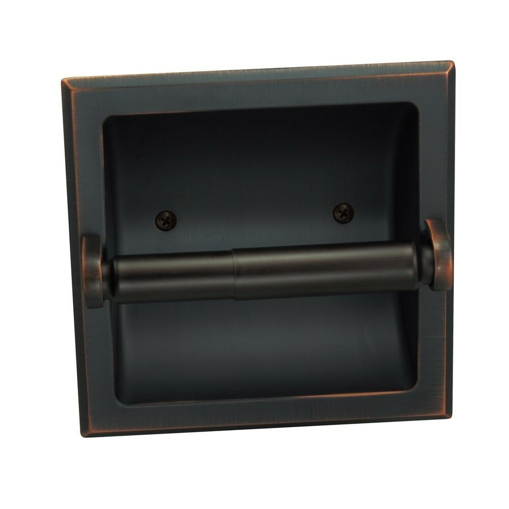 sunset oil rubbed bronze recessed toilet tissue paper holder 49687 ebay. Black Bedroom Furniture Sets. Home Design Ideas