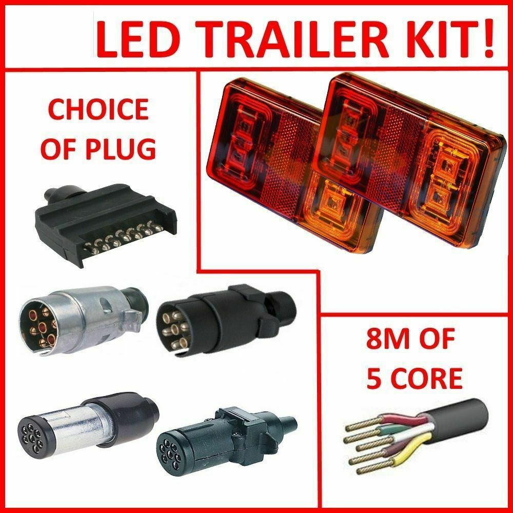 Pair Of Led Trailer Lights  1 X Plug  8m X 5 Core Wire Kit