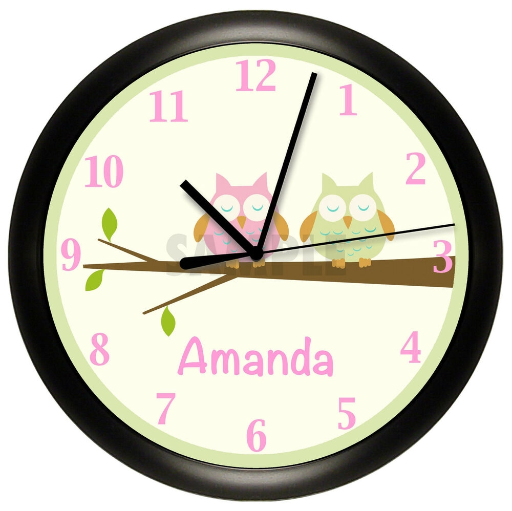 Wall Clock Owl Design : Owl nursery wall clock personalized gift decor pink