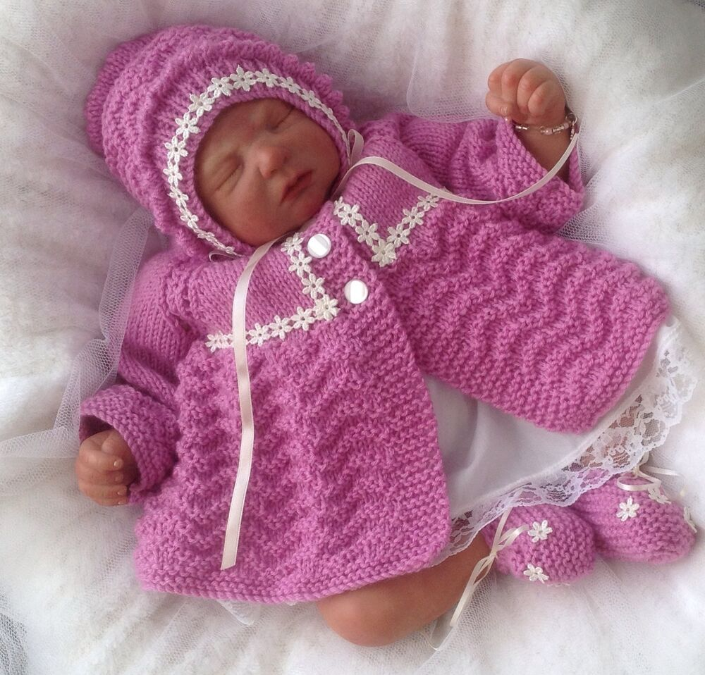 Free Baby Knitting Patterns Dk : Baby Knitting Pattern #52 TO KNIT Girls Reborn Dolls Clothes Matinee Set DK Y...