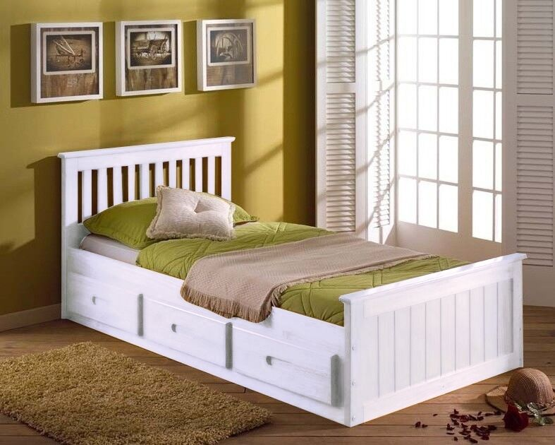 3ft single solid pine mission storage bed drawers white for Small single bed with drawers