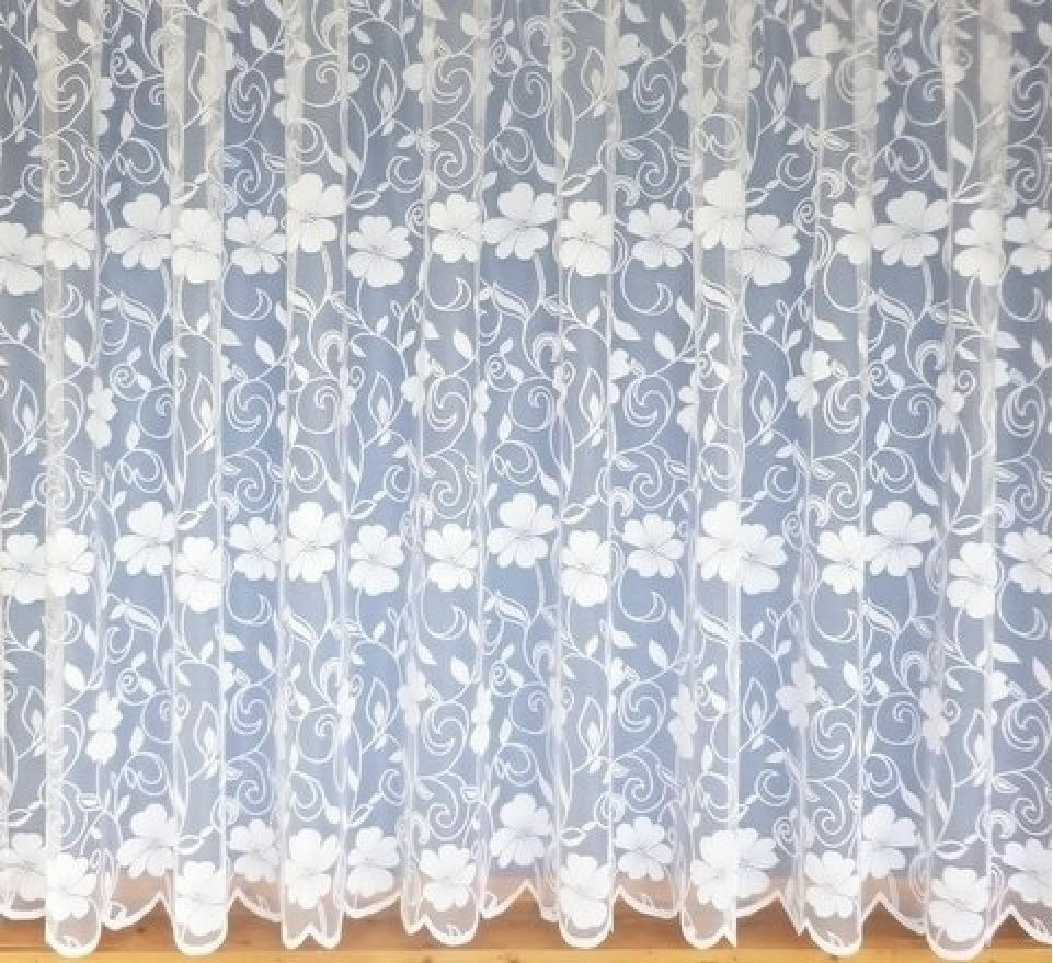 Thick Heavy Flowers White Net Lace Curtain 3952 Daisy Floral Plain ...