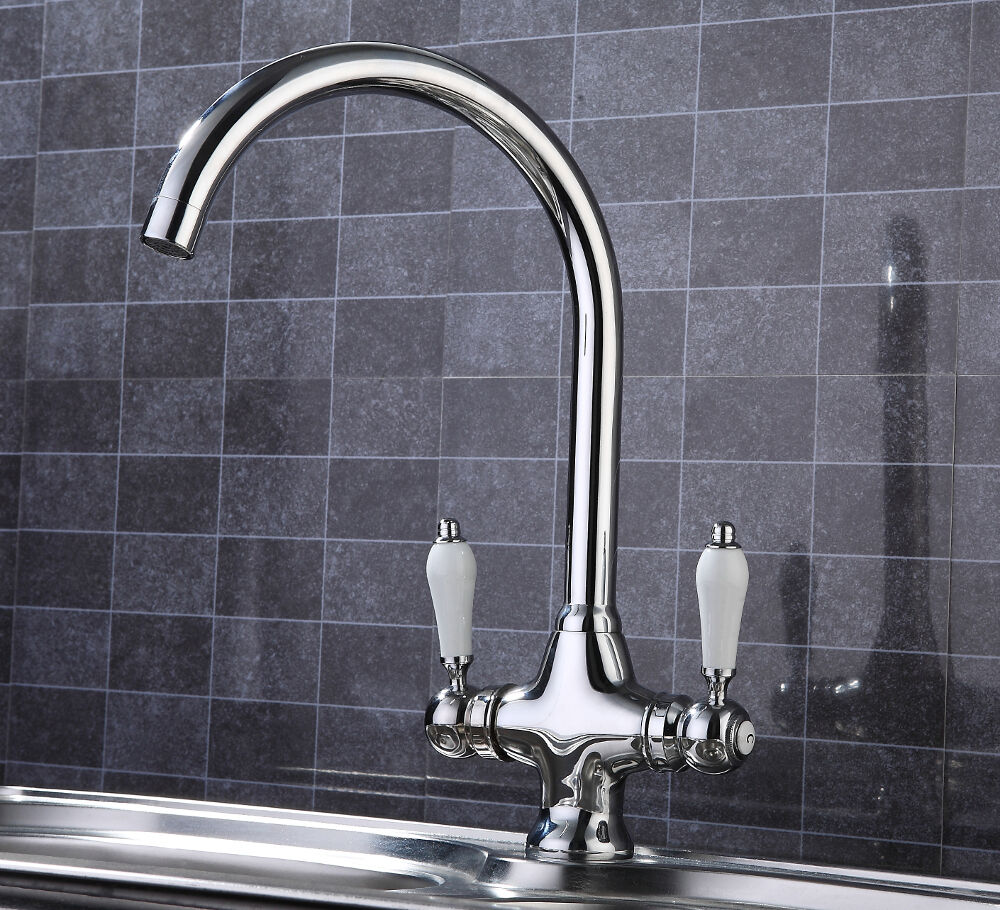 Kitchen Tap Fittings: Modern Chrome Kitchen Tap, Swivel Spout, Fittings Included