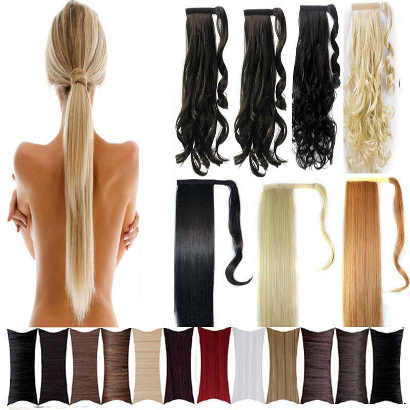 long Wrap Around clip in ponytail hair extensions pony