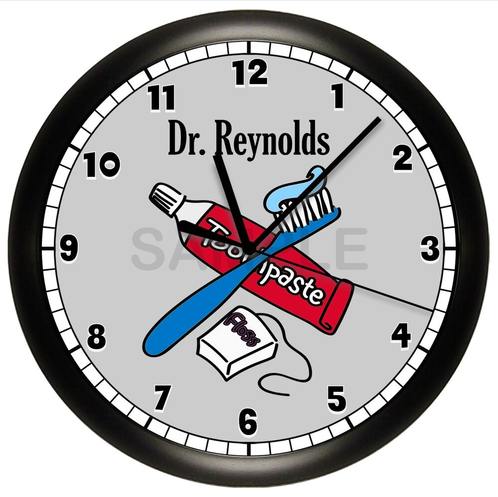 dentist office wall clock personalized gift doctor. Black Bedroom Furniture Sets. Home Design Ideas