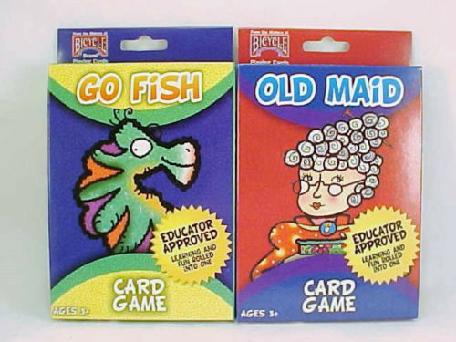 2 decks bicycle kids playing cards games go fish old for Fish card game
