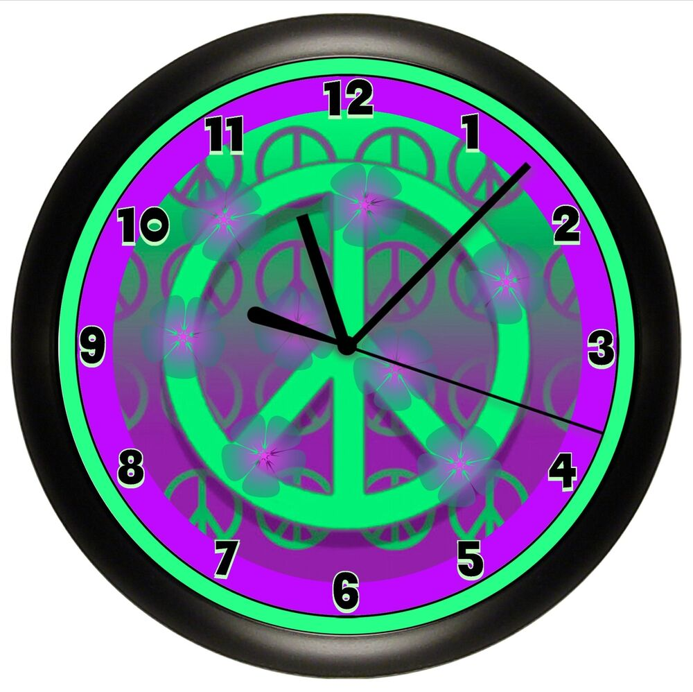 Peace Sign Bedroom Accessories: PURPLE PEACE SIGN WALL CLOCK DORM OFFICE GIFT DECOR GIRL
