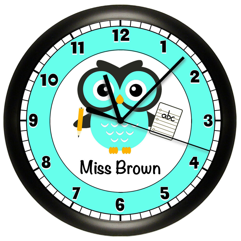 Wall Clock Owl Design : Owl school teacher wall clock personalized gift decor