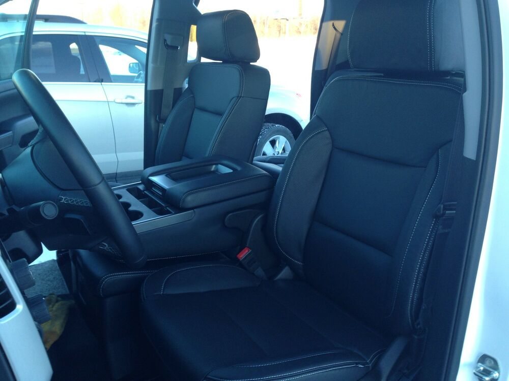 Pickup Bench Seat Cover >> 2014 2015 GMC SIERRA DOUBLE CAB KATZKIN LEATHER SEAT COVERS COVER BLACK | eBay