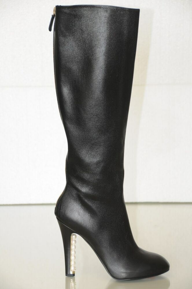 1995 New Chanel Black Leather Pearls Heels Knee High