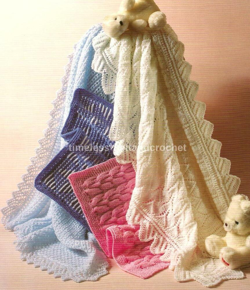Knitting Patterns For Baby Blankets And Shawls : Vintage baby knitting pattern for shawl pram cover