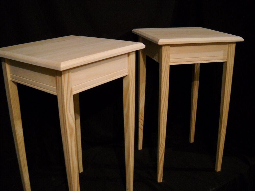 Set Of 2 Unfinished Pine Tapered Leg Dorm Table Night