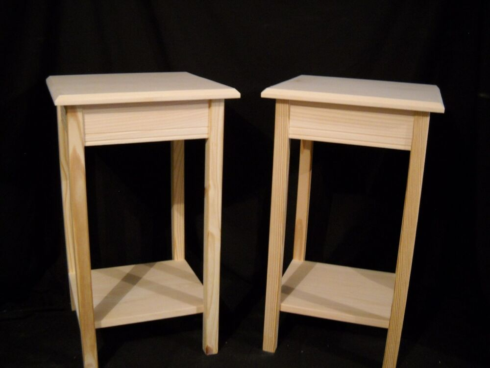 Set of unfinished wooden dorm table night stand end