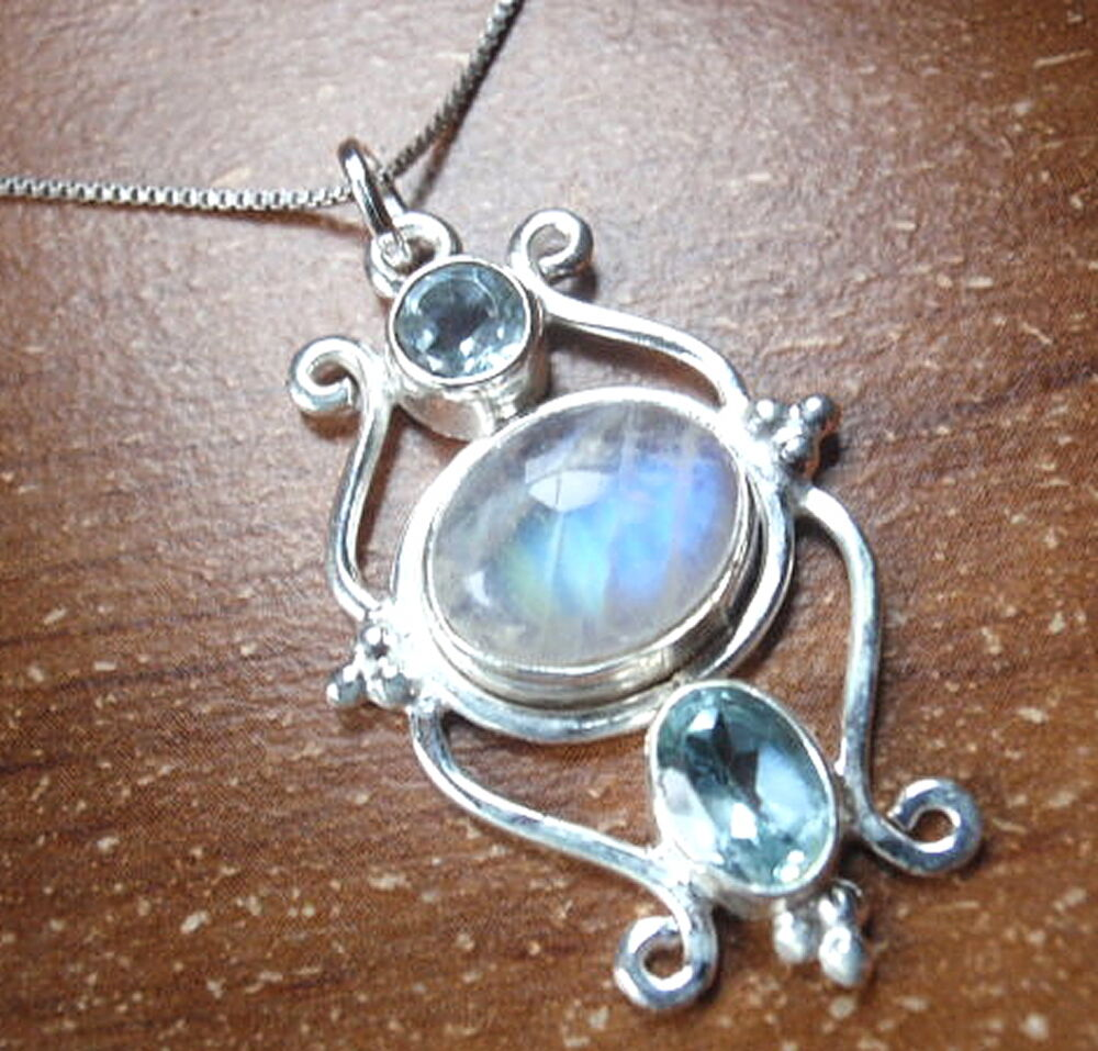 Moonstone Necklaces: Faceted Blue Topaz Moonstone Pendant 925 Sterling Silver