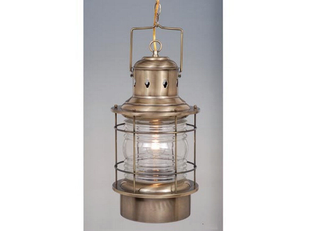 Antique brass and clear glass exterior hanging light for Hanging outdoor light fixtures