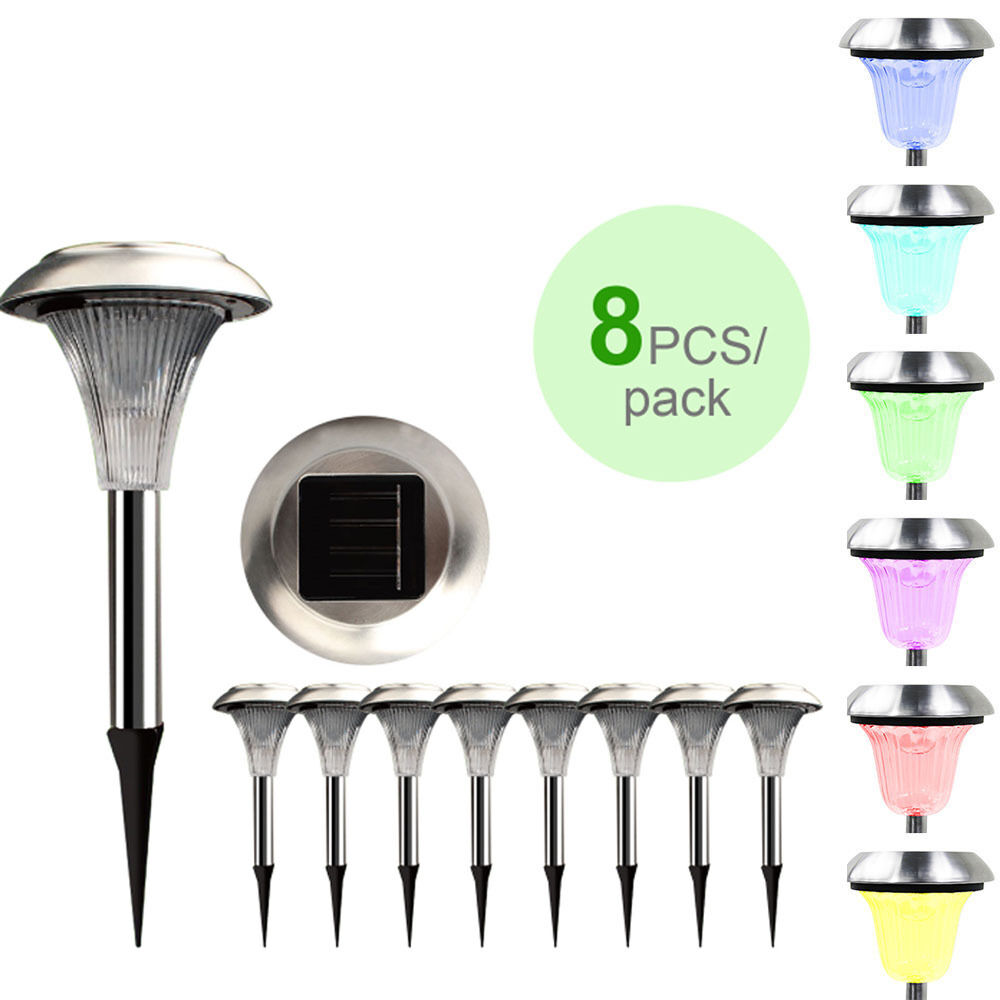 8X Outdoor Solar Power Lights Garden Pathway Landscape LED Christmas Yard Lamp  eBay