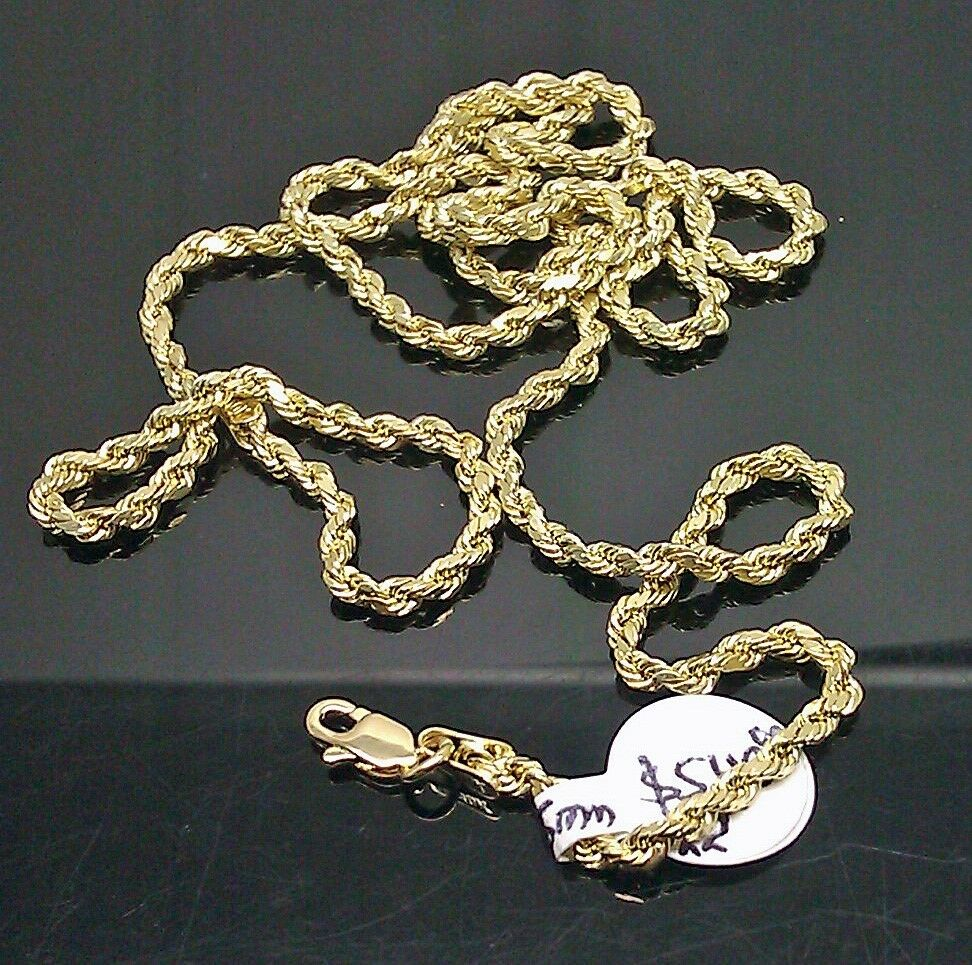 10k yellow gold rope chain necklace with diamond cuts 22 for 10k gold jewelry
