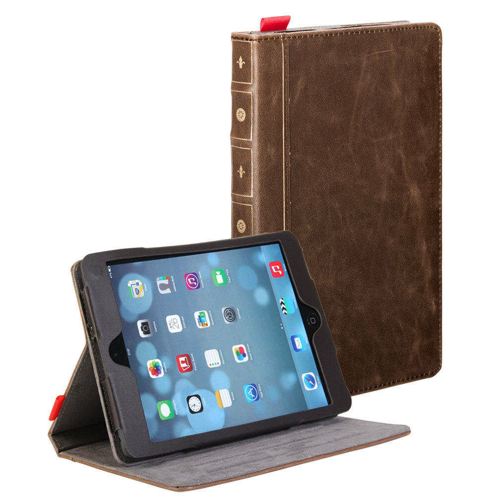 Classic Book Tablet Cover ~ Brown classic crazy horse pattern pu leather book style