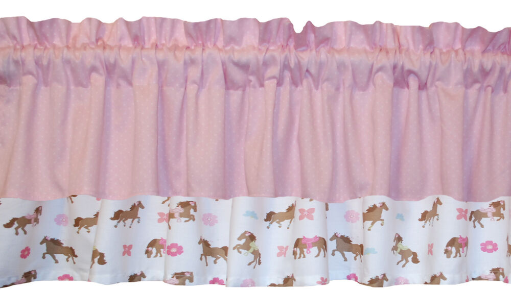 New pretty window horse pony pink on white valance for girls cowgirls