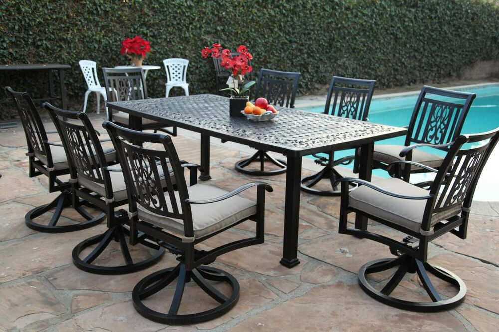 Aluminum outdoor garden furniture 9 piece dining set a for Jardin 8 piece dining set