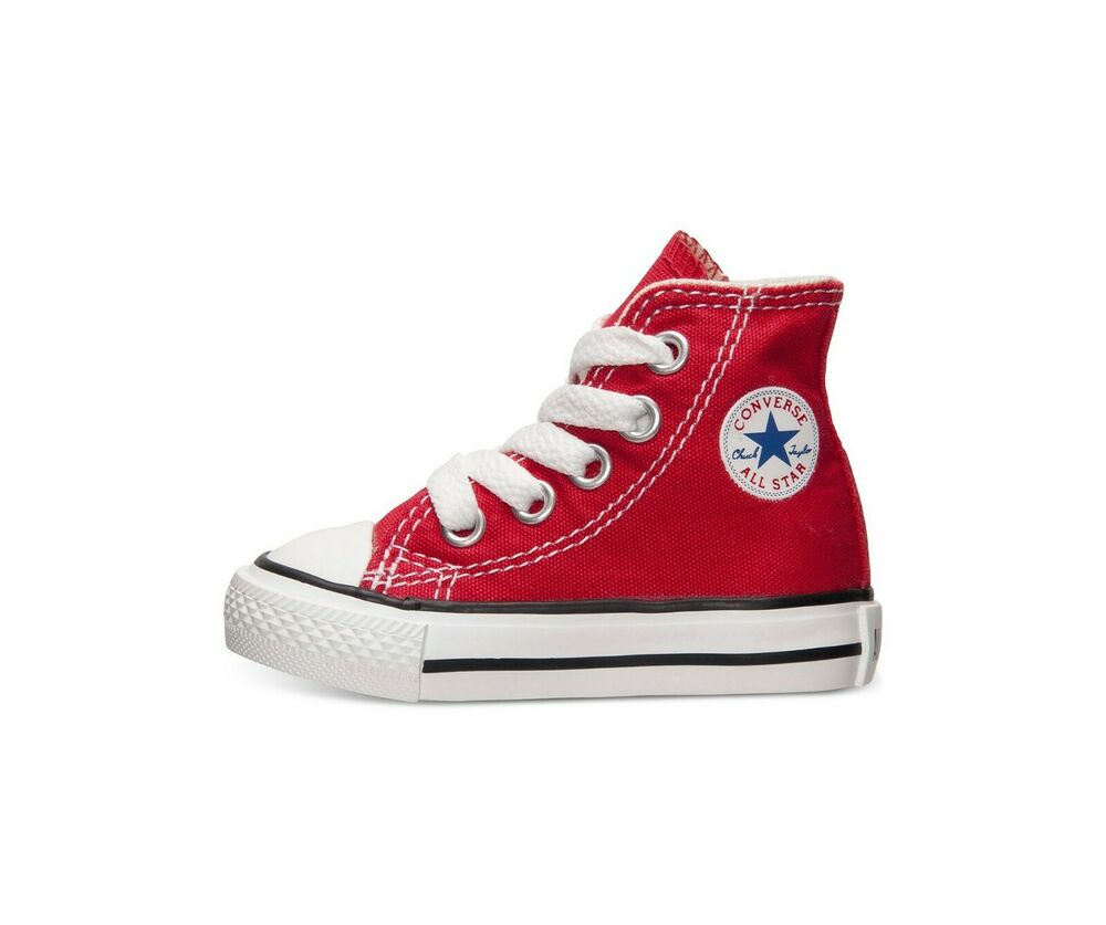 CONVERSE All Star Hi Top Shoes Red White Canvas Baby